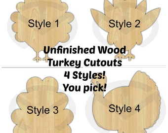 Unfinished Wood Turkey Laser Cutout, Wreath Accent, Door Hanger, Ready to Paint & Personalize, Various Shapes and Sizes, Thanksgiving