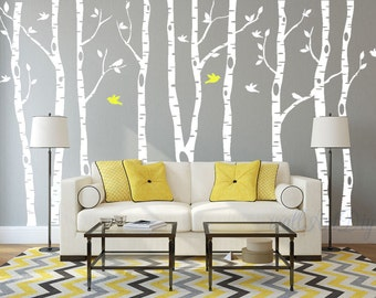 Tree Wall Decals Large Birch Tree Wall Decals Tree And Birds Wall Murals  White Tree Wall