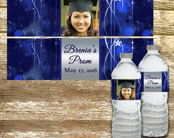 Water Bottle Label - Graduation Water Bottle Label, Prom Water Bottle Label, Personalized Water Bottle, Prom Party Favors,  Graduation Party