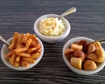 Dolls House Food  Miniature Food; 1:12 scale - China Serving Dish of Roast Potatoes;  Creamy Mashed Potatoes;  French Fries  /  Chips