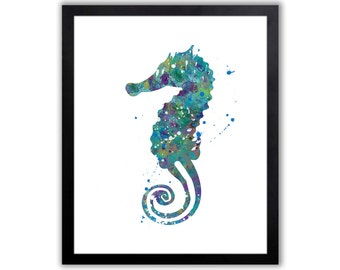 Seahorse, Seahorse Painting, Nautical Decor, Limited Edition Art Print - NA017