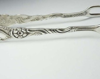 Ornate Swedish Extra PR NS ALP Flower Form Sugar Tongs Floral Silver Plate