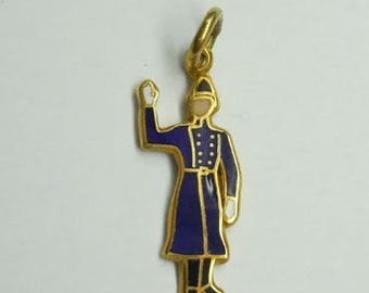 9Kt Yellow Blue White Enamel English Guard Policeman British Cop Police Charm Pendant