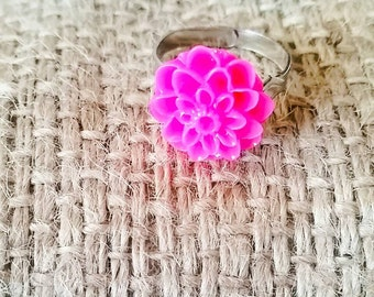 Hot Pink Dahlia Ring