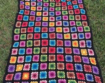 Vintage afghan blanket, vintage afghan granny square