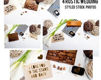 Rustic Wedding Styled Stock Photos Set of 4 *Instant download