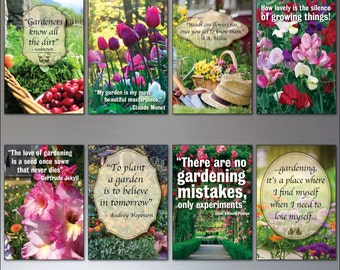 Gardening inspiration quotes fridge magnets set of 8