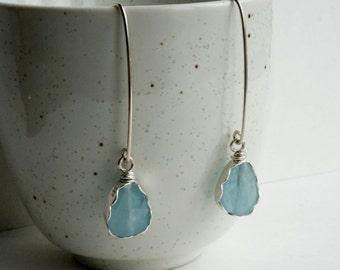 Genuine Aquamarine Earrings in Silver, March Birthstone Earrings, Natural Aquamarine, Healing Crystal, Blue Tear Drop Earrings, b77