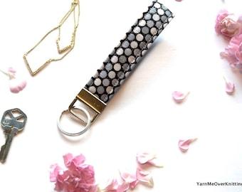 Polka Dot Keychain Wristlet Key Fob Glitter