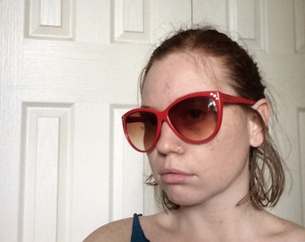 Red Over-Sized Cat Eye Sunglasses