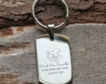Graduation Personalized Engraved Key Chain Gift