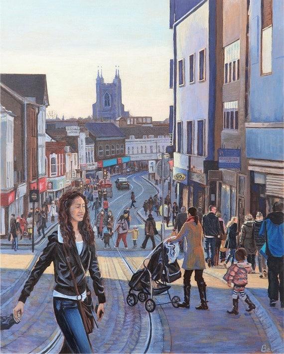 "Church Street, print 16X20"", Shoppers on Church Street in Croydon"