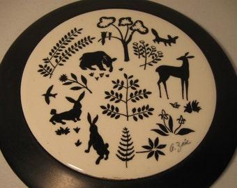 Vintage Trivet Black White Forest Animals Silhouette  G Zaic