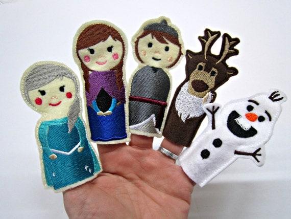 marionnettes doigt reine des neiges jouet jeu feutrine. Black Bedroom Furniture Sets. Home Design Ideas