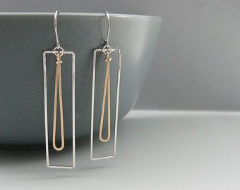 Silver Rectangle Earrings with Gold Teardrop - two tone geometric jewelry, gift for wife or girlfriend - Lg