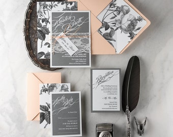 Wedding Invitation Suite  (20) , Grey and  Peach Invites, Lace Wedding Invitations , Vintage Wedding Invitation, Floral Botanical Invitation
