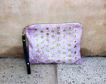 Hand Dyed Eyelet Canvas Clutch