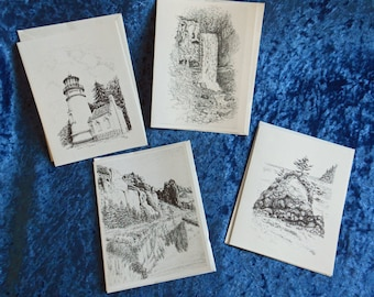 Set of 4 Pen and Ink Notecards--Oregon scenes