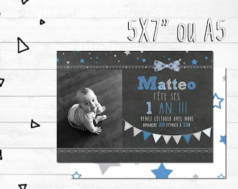 Personalized card of invitation anniversaire_FICHIER numerique_carte, party boy, BowTie, first anniversary, chalkboard