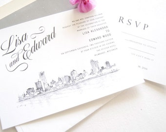 Milwaukee Skyline Wedding Invitation, Milwaukee Wedding, Invite, Invitations (Sold in Sets of 10 Invitations, RSVP Cards + Envelopes)
