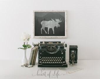Printable art Moose at print Woodland nursery decor Woodland printable Moose wall decor Chalkboard nursery printable Wall art decor print