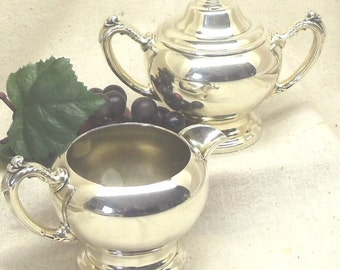 "Vintage Silver Plated Sugar Bowl and Creamer Set with Handles, ONEIDA SILVERSMITHS ""Silverplated Holloware"", Made in U.S.A. #VH3023"