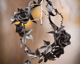 Black flower headband  Black rose Gothic crown Hallowen crown Black crown Dia de los muertos Hallowen hair accessory Black rose necklace
