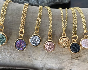 Druzy Necklace/Round Bezel Druzy Necklace/9x9mm Round Druzy/Quartz Crystal Druzy/Crystal Druzy/Titanium Druzy/gold filled chain