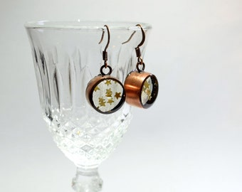 Gold Star Sprinkle Earrings - handmade copper drop earrings