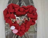 Valentines Day Heart Wreath - Valentines Day Decorations - Valentines Day Burlap Wreath - Red Burlap Heart Wreath - Valentine's Day Wreath