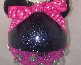 Minnie Mouse Ornaments - Minnie Mouse Glitter Ornament - Minnie Mouse Glass Ornament - Minnie Mouse Glitter Glass Ornament