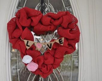 Valentines Day Heart Wreath - Valentines Day Decorations - Valentines Day Burlap Wreath - Red Burlap Heart Wreath - Valentine's Day Wreath