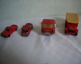 Set of 4 red trucks, Vintage Retro red toy, Solido, cheerleader,