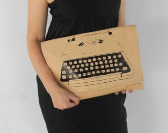 Leather craft patterned clutch of typewriter