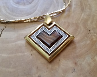 Givenchy Vintage Heart Necklace Signed Heart Necklace 1979 Stylized Smoky Brown Heart Cabachon Rhinestones 18 in Chain