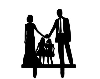 Big Bride And Groom Silhouette Wedding Cake Topper Family Kids Dog