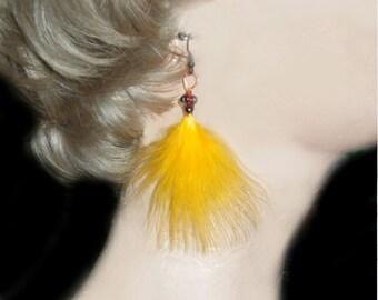 Yellow Earrings - Bright Sunny Yellow - Feather Earrings - Fan - Ethnic / Boho / Urban