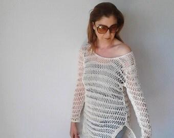 Loose knit sweater, beach cover up, beach dress, cotton sweater, knit dress, boho, summer dress, hand knit sweater, grunge, women sweater