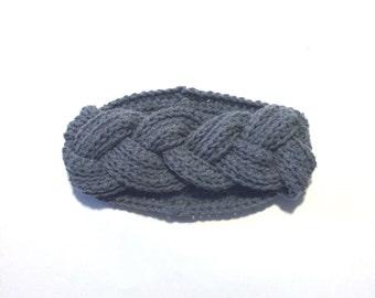 Grey Braided crochet  Ear Warmer Headband