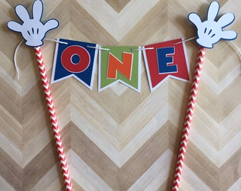 Mickey Mouse Cake Topper Mickey  Mouse Clubhouse Party Decoration Baby's First Birthday Mickey Banner Mickey Clubhouse Cake Party Supplies