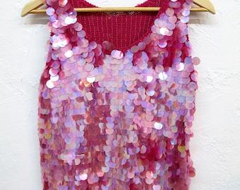 Vintage Magenta Knit Beaded Disco Top