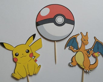 Set of 12 Pokemon Themed Cupcake Toppers