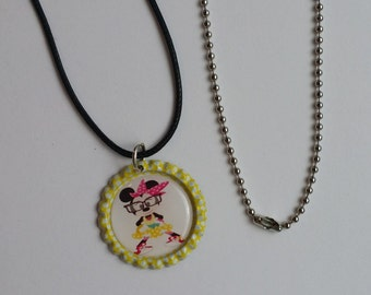 1 Nerd Minnie Mouse themed Finished Bottle Cap Necklace