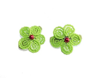 2pc Beaded Flower Hair Clips on French Barrette with Pearl. Lime Green & Red Hair Accessory for Girl Teen Bridesmaid. French Beaded Flowers