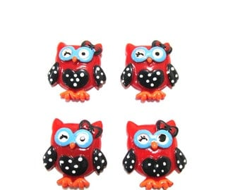 Back to School Owl Cabochons | Resin Flatback | DIY Supplies | Jewelry Supplies | Embellishments | Warehouse1711