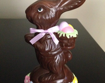 Small Ceramic Chocolate Bunny with colored Easter eggs and multicolor flowers
