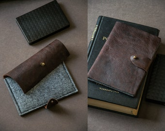 HDD Case made to measure * vintage Leather and Felt PORTABLE HARD Disk case / Hard drive case wallet / Genuine italian leather