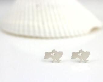 Ukraine Earrings, Silver Ukraine Studs, Any county earrings, I heart Ukraine, Ukrainian pride
