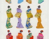 Japanese Kimono Stickers - Traditional Paper Stickers - Reference A3286-87