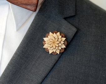 Maple and Walnut Lapel Pin - Wood Lapel Pin - Mens lapel flower